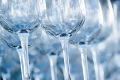 Empty wine glasses in a restaurant Royalty Free Stock Photography