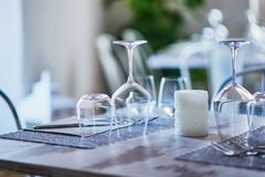Wine glasses in restaurant or cafe royalty free stock images