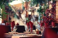 Empty wine glasses  at restaurant Stock Image
