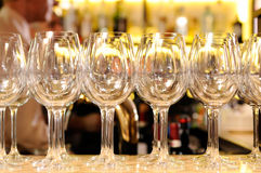 Empty wine glasses. Served on a table Royalty Free Stock Photography