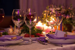 Empty wine glasses set in restaurant for wedding Royalty Free Stock Photo