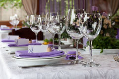 Empty wine glasses set in the restaurant for wedding Stock Images