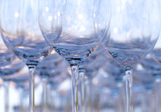 Empty wine glasses. Setting for wedding party Royalty Free Stock Photo