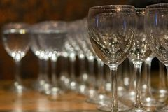 Empty wine glasses side by side stock photos