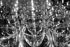 Empty Wine Glasses on table Stock Image