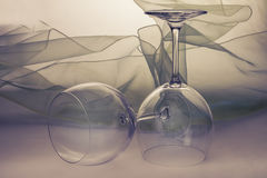 Empty wine glasses on the table Stock Image