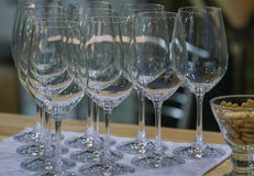Empty wine glasses for tasting Stock Images