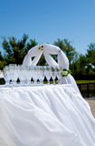 Empty wine glasses on the wedding ceremony Stock Images