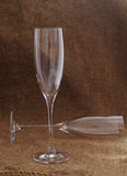 Empty wineglasses. Two empty wineglasses, one of them is overturn Royalty Free Stock Photos