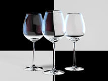 Empty wineglasses. Black and white wine glass with color reflections Royalty Free Stock Photo