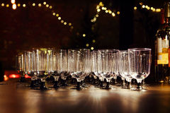 Empty wineglasses on holiday reception table. Stock Photo
