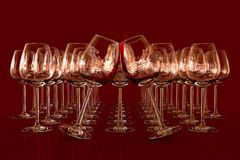 Empty wineglasses. Red wine in a glass on dark background Stock Illustration