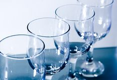 Empty wineglasses row Stock Photography