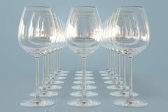 Empty wineglasses. On a row Royalty Free Stock Photos