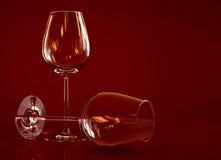 Empty wineglasses. Two empty wine glass on dark background Royalty Free Stock Image