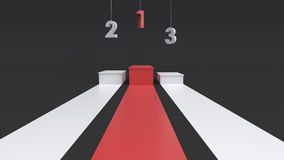Empty winners podium with hanging number. 3D rendering. Empty winners podium with hanging number for display. 3D rendering.n Stock Photos