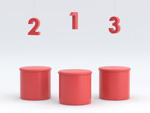 Empty  winners podium on red background. 3D rendering. Empty  winners podium on red background for display. 3D rendering Stock Photography