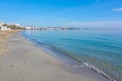 Empty winter beach Ibiza. Empty beautiful sandy Playa d'en Bossa beach on a sunny and misty winter morning in December in Ibiza, Spain Stock Images