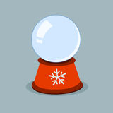 Empty winter glass globe with snowflakes. Xmas template vector illustration