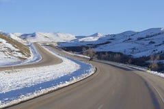 Winter roads in Montana. Empty winter interstate highway in Montana Stock Photos