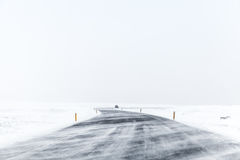 Empty winter landscape. Iceland. Icelandic road covered with snow, empty winter landscape. Iceland Stock Photography