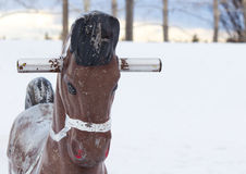 Empty Winter Playground with Horse Royalty Free Stock Photos