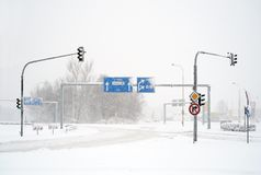 Empty winter road in blizzard Royalty Free Stock Photos