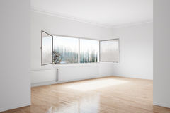 Empty winter room. With large central heating device Stock Image
