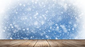 Empty winter, snow background, wooden table, empty scene of winter landscape. Abstract snowflakes, snow. vector illustration