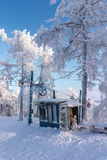 Empty winter sport resort view with snow, trees and blue sky. Old freezing winter sport resort in Russia Stock Photo