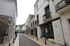 Empty winter-time streetview of Amboise France. On a cloudy day Royalty Free Stock Photos
