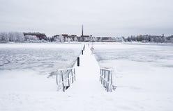 Empty wintry wharf Stock Photography