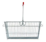 Empty wire shopping basket on white Royalty Free Stock Photography