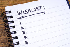 Empty Wish List. An empty Wish List in a Notebook royalty free stock image
