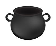 Empty witch cauldron,pot. Realistic Vector illustration isolated on white background. Created with gradient mesh. Stock Image
