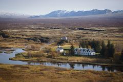 Empty road in iceland in autumn royalty free stock photography