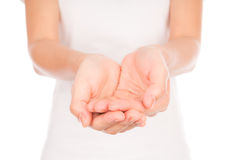 Empty woman hands over body isolated on background . Royalty Free Stock Images