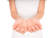 Empty woman hands over body isolated on background . Stock Image