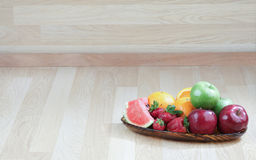 Empty wood background with fruits tray Stock Images