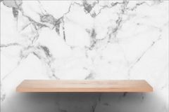 Empty wood bar with black and white marble wall background stock image