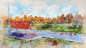 Empty wood bench in autumn park watercolor sketch royalty free illustration