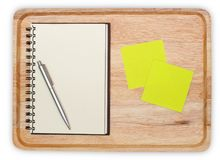 Wood with blank notebook open design with notice paper and. Empty wood with blank notebook open design with notice paper and pen stock image