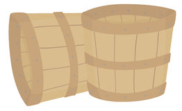 Empty Wood Buckets. A pair of two empty wooden buckets Stock Illustration
