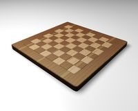 Empty wood chessboard back view Stock Image