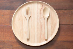 Empty wood dish Stock Photo