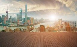 Empty wood floor with bird-eye view at Shanghai bund Skyline Stock Photography