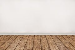 Empty wood floor and White wall room. stock images