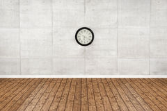Empty wood floor and White wall room. 3D Rendering Royalty Free Stock Photo