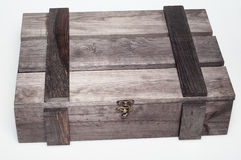 Empty wood gift box Royalty Free Stock Photos