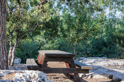 Empty wood picnic table Royalty Free Stock Image